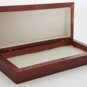 protective wooden case for lasers shown open